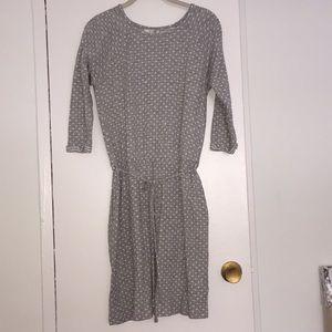 EUC Boden Polka Dot Dress Gray/White Sz M